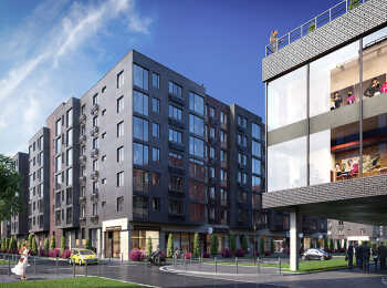 Коммерческие помещения на первых этажах, широкоформатные окна в квартирах